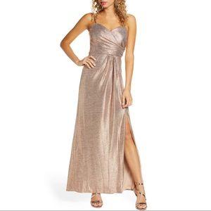 MORGAN & CO $119 Rose Gold Shimmer Front Slit Gown